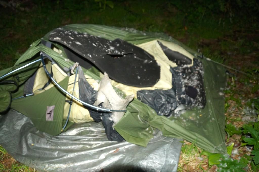 Zerstörung meines Zeltes, Matte und Schlafsack